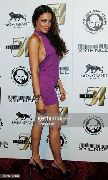 Model Amber Nichole arrives at a postfight party for UFC 116 and birthday celebration for mixed martial artist Wanderlei Silva at Studio 54 inside...