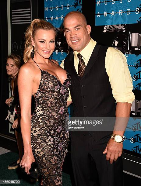 Model Amber Nichole Miller and MMA fighter Tito Ortiz attend the 2015 MTV Video Music Awards at Microsoft Theater on August 30 2015 in Los Angeles...