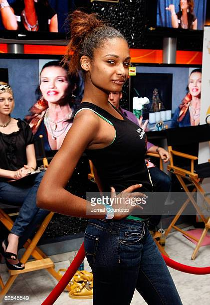 Model Amber of New York City is the winner of the model walkoff competition at the NBC Experience Store on August 23 2008 in New York City