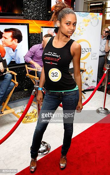 Model Amber of New York City poses as winner of the model walkoff competition at the NBC Experience Store on August 23 2008 in New York City