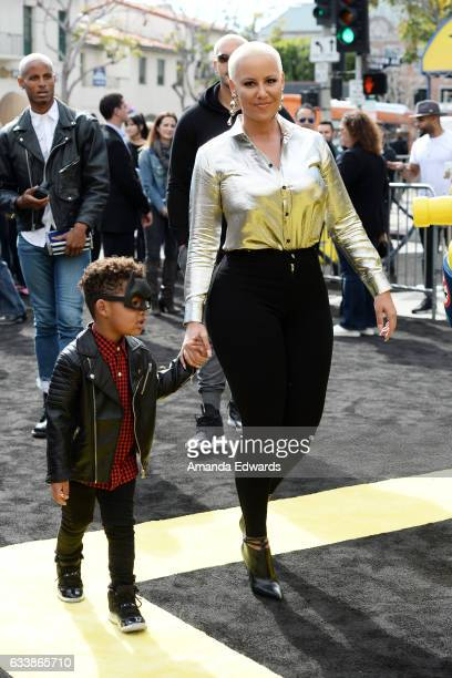 Model Amber Rose and her son Sebastian Taylor Thomaz arrive at the premiere of Warner Bros Pictures' 'The LEGO Batman Movie' at the Regency Village...