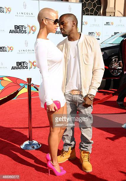Model Amber Rose and Kanye West attend the 2009 BET Awards at The Shrine Auditorium on June 28 2009 in Los Angeles California