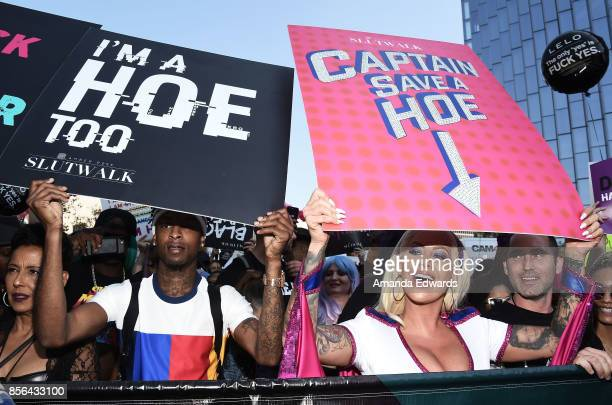 Model Amber Rose and rapper 21 Savage attend the 3rd Annual Amber Rose SlutWalk on October 1, 2017 in Los Angeles, California.