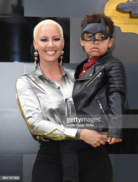 Model Amber Rose and son Sebastian Taylor Thomaz arrive at the premiere of Warner Bros Pictures' 'The LEGO Batman Movie' at Regency Village Theatre...