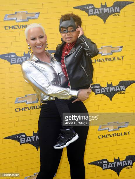 Model Amber Rose and son Sebastian Taylor Thomaz arrive for the Premiere Of Warner Bros Pictures' 'The LEGO Batman Movie' held at Regency Village...