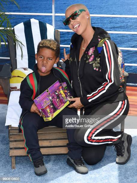 Model Amber Rose and son Sebastian Taylor Thomaz attend Columbia Pictures and Sony Pictures Animation's World Premiere of 'Hotel Transylvania 3...