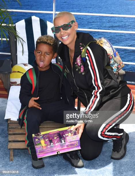 Model Amber Rose and son Sebastian Taylor Thomaz attend Columbia Pictures and Sony Pictures Animation's World Premiere of 'Hotel Transylvania 3:...