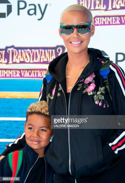 """Model Amber Rose and son Sebastian Taylor Thomaz attend the world premiere of """"Hotel Transylvania 3: Summer Vacation"""" on June 30, 2018 in Westwood,..."""