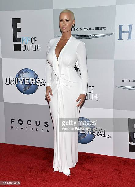 Model Amber Rose arrives at NBCUniversal's 72nd Annual Golden Globes After Party at The Beverly Hilton Hotel on January 11 2015 in Beverly Hills...