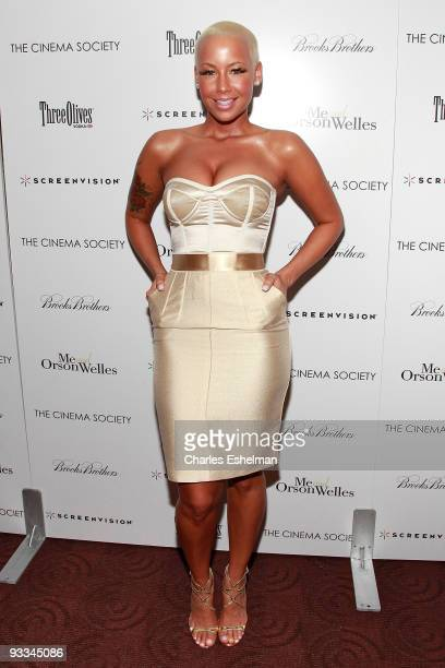 """Model Amber Rose attends a screening of """"Me And Orson Welles"""" hosted by the Cinema Society, Screenvision and Brooks Brothers at Clearview Chelsea..."""