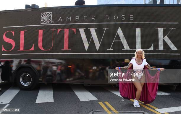 Model Amber Rose attends the 3rd Annual Amber Rose SlutWalk on October 1 2017 in Los Angeles California