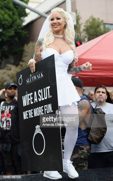 Model Amber Rose attends the 4th Annual Amber Rose SlutWalk on October 6, 2018 in Los Angeles, California.