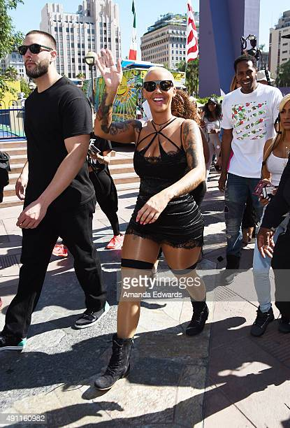Model Amber Rose attends the Amber Rose SlutWalk LA at Pershing Square on October 3 2015 in Los Angeles California