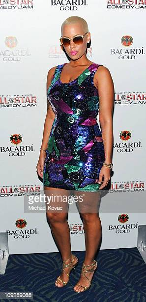 Model Amber Rose attends the Bacardi Gold VIP Cocktail Reception at The Shaq All Star Weekend Comedy Jam on February 18 2011 in Los Angeles California