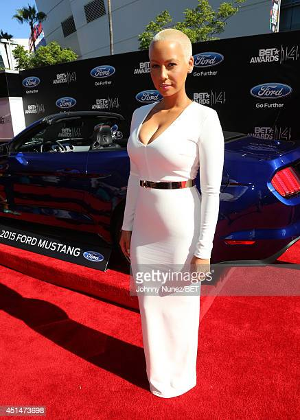 Model Amber Rose attends the BET AWARDS '14 at Nokia Theatre LA LIVE on June 29 2014 in Los Angeles California