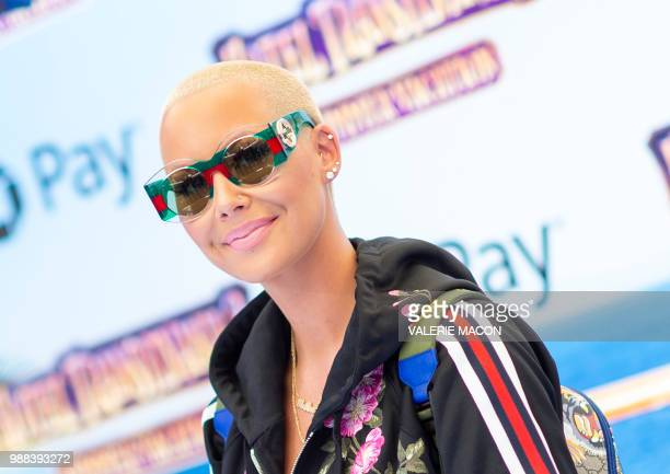 """Model Amber Rose attends the world premiere of """"Hotel Transylvania 3: Summer Vacation"""" on June 30, 2018 in Westwood, California."""