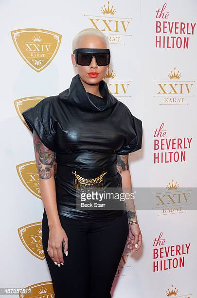 Model Amber Rose attends the XXIV Karat Launch Party at The Beverly Hilton Hotel on October 16 2014 in Beverly Hills California