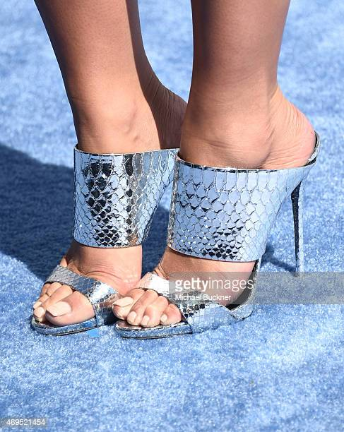 Model Amber Rose, shoe detail, attends The 2015 MTV Movie Awards at Nokia Theatre L.A. Live on April 12, 2015 in Los Angeles, California.
