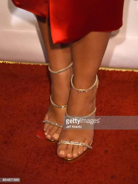 Model Amber Rose, shoe detail, attends the 2017 Pre-GRAMMY Gala And Salute to Industry Icons Honoring Debra Lee at The Beverly Hilton Hotel on...