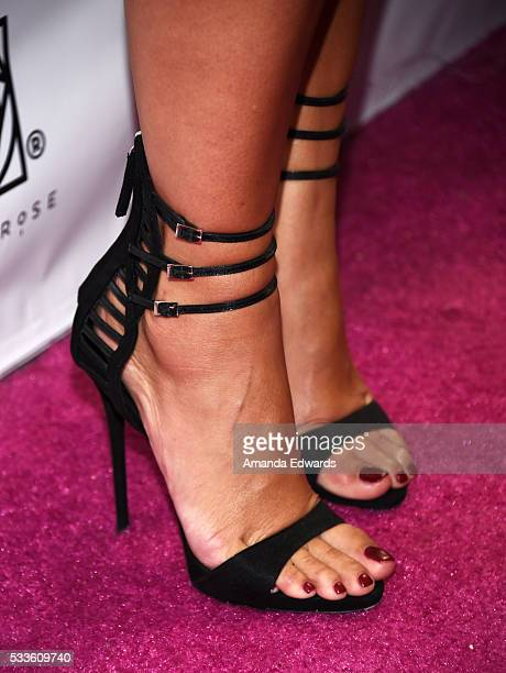 """Model Amber Rose, shoe detail, celebrates the launch of her new """"Goddess"""" digital character at Le Jardin on May 22, 2016 in Hollywood, California."""