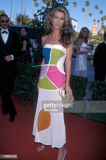 Model Amber Smith attends the Fourth Annual Blockbuster Entertainment Awards on March 10 1998 at the Pantages Theatre in Hollywood California