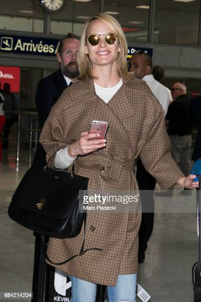 Model Amber Valetta arrives at Nice airport during the 70th annual Cannes Film Festival at on May 17 2017 in Cannes France