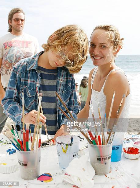 MALIBU CA AUGUST 25 Model Amber Valletta and son Auden McCaw attend the French Connection's 'Kids connection to benefit The Art Of Elysium' on August...
