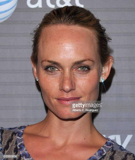Model Amber Valletta arrives at the Blackberry Torch launch party on August 11 2010 in Los Angeles California