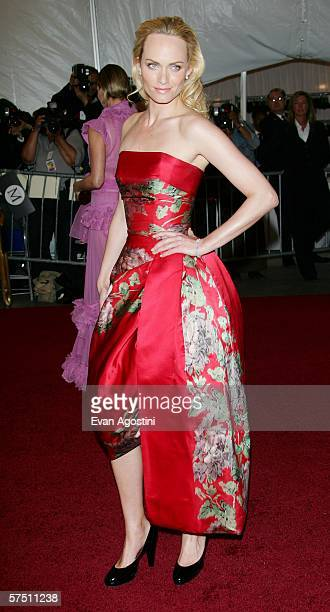 Model Amber Valletta attends the Metropolitan Museum of Art Costume Institute Benefit Gala Anglomania at the Metropolitan Museum of Art May 1 2006 in...