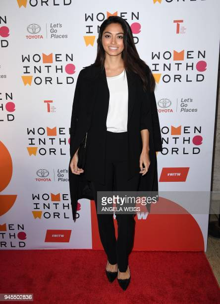 Model Ambra Battilana Gutierrez attends the 2018 Women In The World Summit at Lincoln Center on April 12 2018 in New York City / AFP PHOTO / ANGELA...