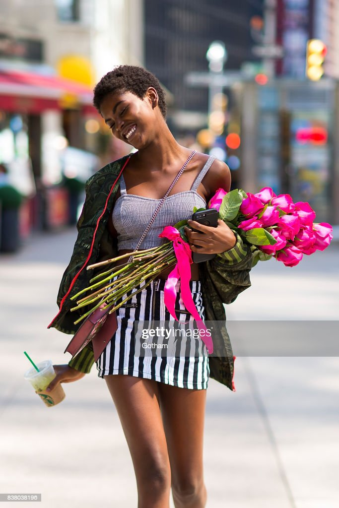 Model Amilna Estevao is seen after being confirmed for the 2017 Victoria's Secret Fashion Show in Midtown on August 23, 2017 in New York City.