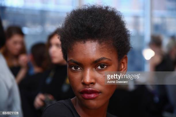 Model Amilna Estevao poses backstage before the Public School collection during New York Fashion Week The Shows at Milk Gallery on February 12 2017...