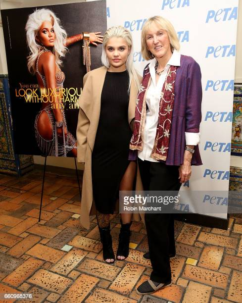 Model Amina Blue Unveils New PETA Campaign with PETA President Ingrid Newkirk at West Side YMCA on March 30 2017 in New York City
