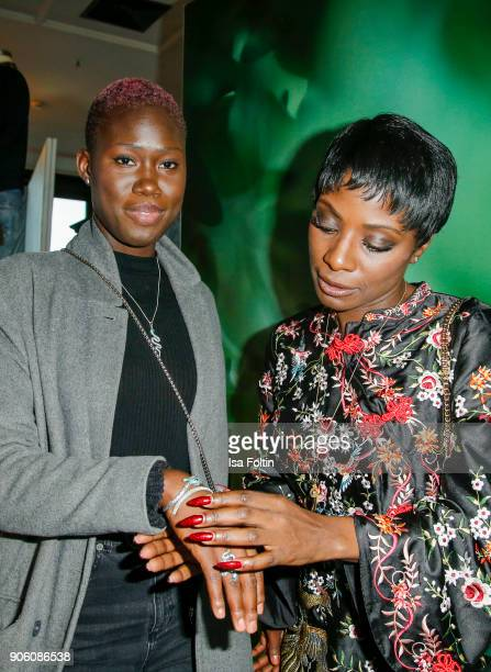 Model Aminata Sanogo and Dancer Nikeata Thompson attend the Thomas Sabo Press Cocktail during the MercedesBenz Fashion Week Berlin A/W 2018 at China...