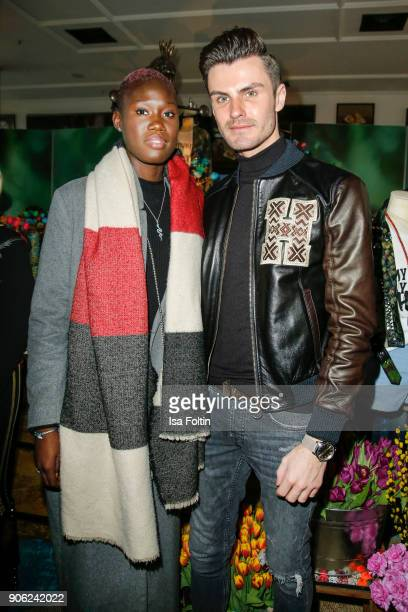 Model Aminata Sanogo and model and blogger PaulHenry Duval attend the Thomas Sabo Press Cocktail during the MercedesBenz Fashion Week Berlin A/W 2018...