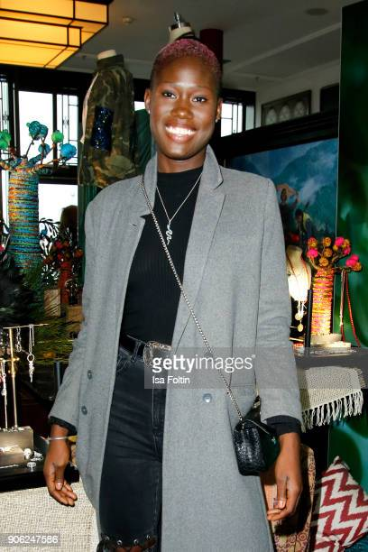 Model Aminata Sanogo attends the Thomas Sabo Press Cocktail during the MercedesBenz Fashion Week Berlin A/W 2018 at China Club on January 17 2018 in...