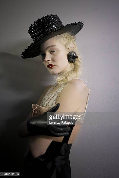 Model Ammi Garritsen poses Backstage prior the Jean Paul Gaultier Fashion Week on January 25, 2017 in Paris, France.