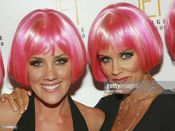 Model Amy McCarthy and her sister actress Jenny McCarthy arrive at the Jet Nightclub at The Mirage Hotel Casino for Amy McCarthy's birthday party...