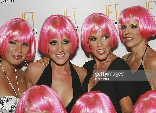 Model Amy McCarthy and her sister actress Jenny McCarthy arrive with their friends at the Jet Nightclub at The Mirage Hotel Casino for Amy McCarthy's...