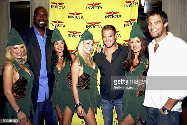 Model Amy Miller TV sports host John Salley Rachael Mortensen Rachelle Leah George Stults Andrea Tiede and Geoff Stults pose for a photo on June 5...