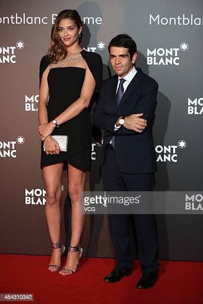 Model Ana Beatriz Barros and CEO of Montblanc International Jerome Lambert attend the Montblanc Boheme Collection launch event at The Peninsula...