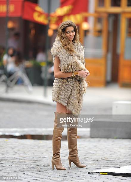 Model Ana Beatriz Barros poses in Manhattan's Meatpacking District on June 11 2009 in New York City