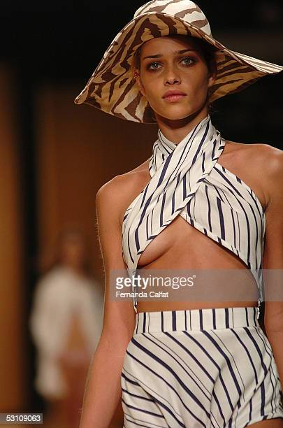 Model Ana Beatriz Barros presents a design by Animale during Animale Summer 2006 fashion show at Rio's Modern Art Museum during Rio Fashion Week on...