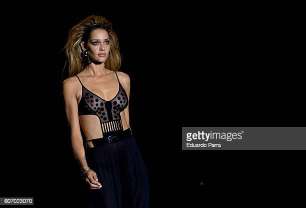 Model Ana Beatriz Barros showcases designs by Dolores Cortes on the runway at the Dolores Cortes show during MercedesBenz Fashion Week Madrid...