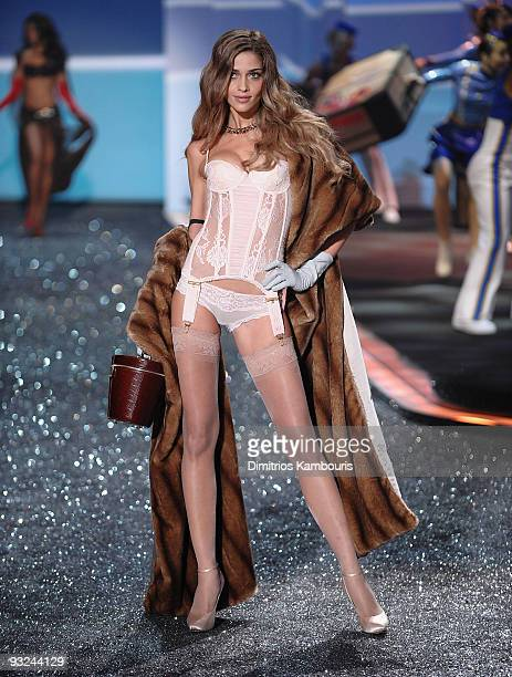 Model Ana Beatriz Barros walks the runway during the 2009 Victoria's Secret fashion show at The Armory on November 19 2009 in New York City