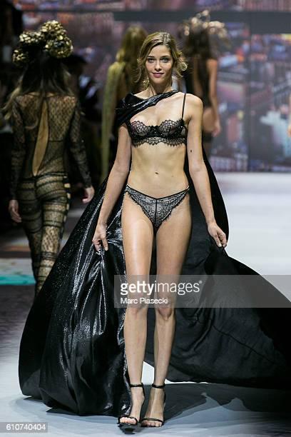 Model Ana Beatriz Barros walks the runway during the Etam show as part of the Paris Fashion Week Womenswear Spring/Summer 2017 on September 27 2016...