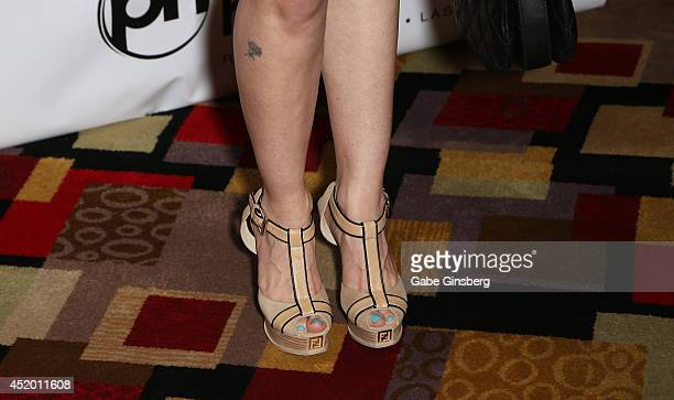 Model Ana Braga arrives at the U2 Compendium media preview at the Sin City Theatre inside Planet Hollywood Resort Casino on July 10 2014 in Las Vegas...