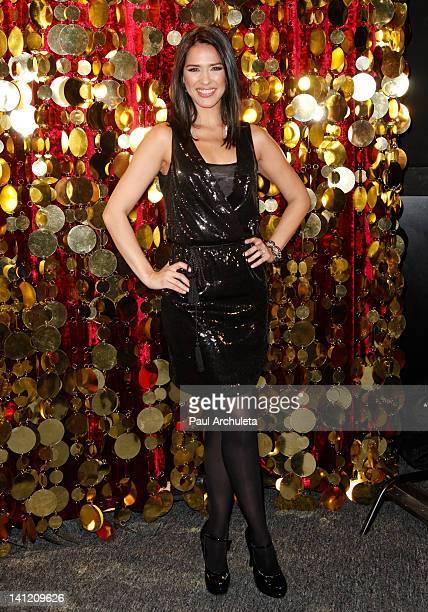 Model Ana Carolina Da Fonseca attends the Estrella TV's Hit dance series 'Mi Sueno Es Bailar' season 3 press conference at Liberman Broadcasting on...