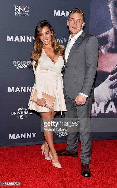 "Model Ana Cheri and guest attend the premiere of the new film ""Manny"" at TCL Chinese Theatre on January 20, 2015 in Hollywood, California."