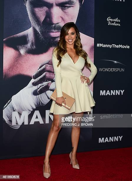 Model Ana Cheri poses on arrival for the Los Angeles Premiere of the film 'Manny' about world champion boxer Manny Pacquiao in Hollywood California...
